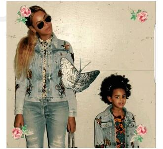 jacket denim jacket beyonce sunglasses jeans denim kids fashion mother and child skinny jeans blue ivy aviator sunglasses kids with swag