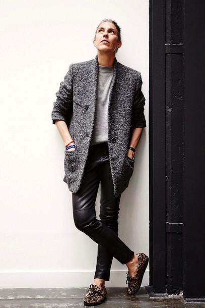 le fashion blogger coat leather pants grey coat leopard print lace-up shoes jacket sweater jewels pants