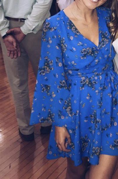 dress blue bell sleeves floral dress tie around waist