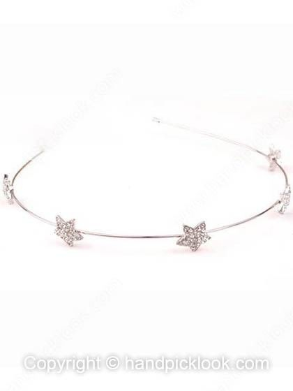 White Crystal Star Alloy Hair Accessory - HandpickLook.com
