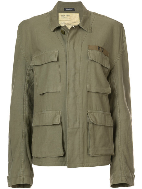 jacket women cotton wool green