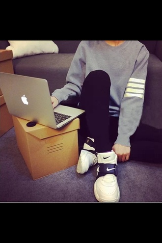 blouse nike running shoes nike sneakers grey sweater grey and white macbook air mac