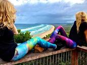 jeans,galaxy print,leggings,colorful