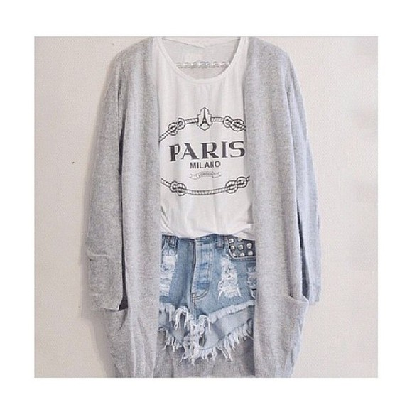 paris blouse white grey t-shirt cute teenagers teens cardigan sailor