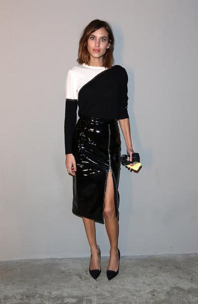 skirt slit skirt alexa chung fashion week 2015 top