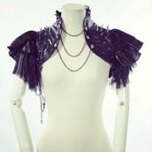 top,exquisite epaulette,shrug,off the shoulder,bolero jacket,steampunk,steampunk clothing,gothic dress