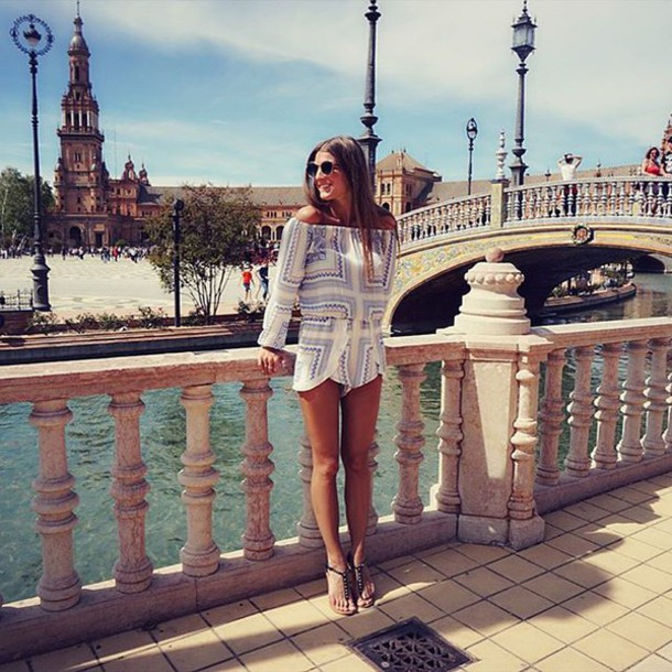 e83c09b69bc2 romper blue white geometric music festival spring outfits shorts romper off  the shoulder off the shoulder