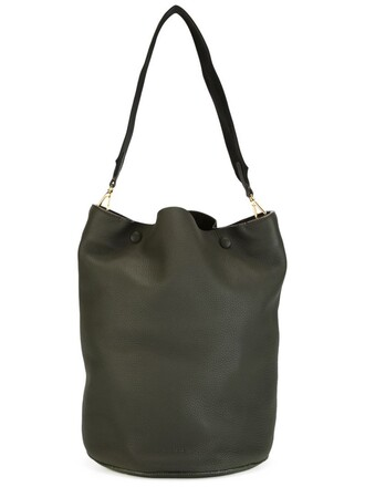 women leather green bag