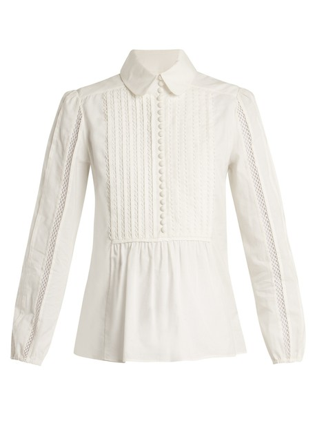 Chloe shirt pleated lace cotton white top
