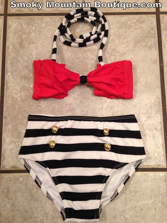 retro red black and white swimwear high waist swimsuit high waisted bikini kids fashion vintage swimwear kids swimsuit child swimwear high waist swim retro swimsuit stripes
