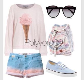 white bag blue black shorts pink sunglasses ombre ice cream