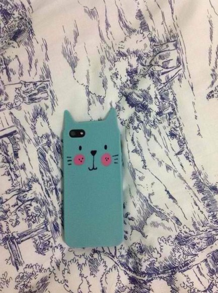 jewels cat blue blush smiling cute amazing lovely iphone iphone 5 case