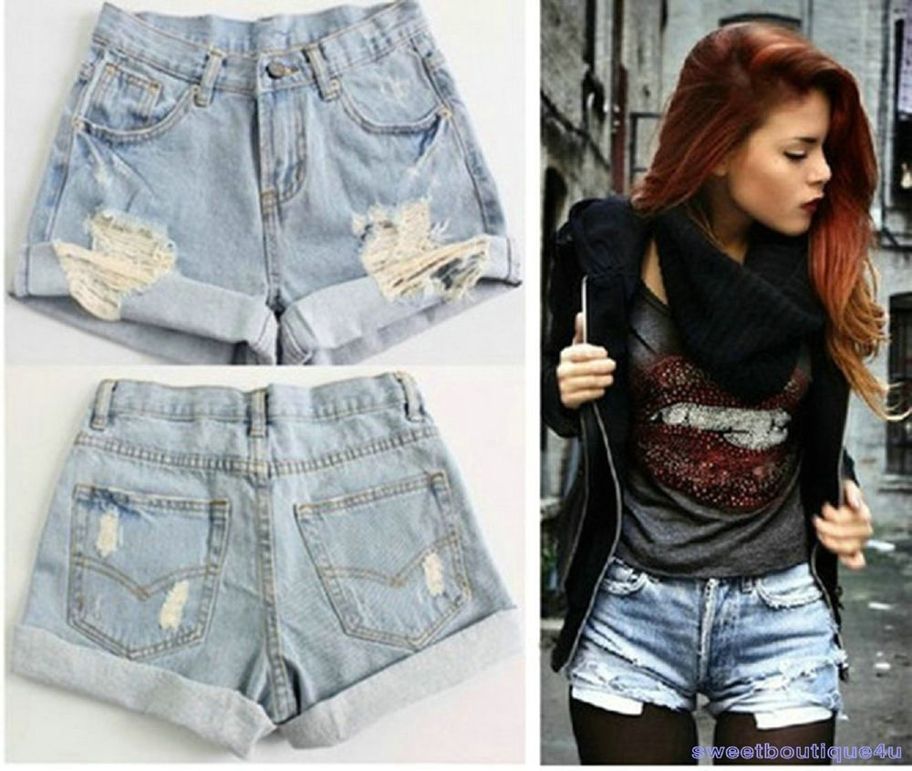 Women Vintage Denim High Waist Light Blue Jean Shorts Hot Pants s ...