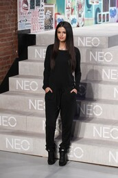 jumpsuit,black,selena gomez,fashion week 2014,sneakers