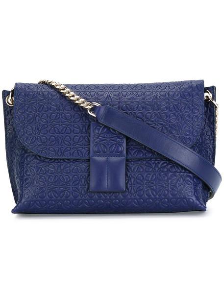 metal women bag shoulder bag leather blue