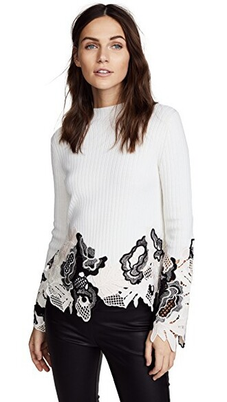 top ribbed top embellished lace white
