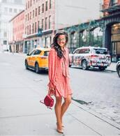 dress,pink dress,sunglasses,gold sunglasses,bag,red bag,heel,shoes