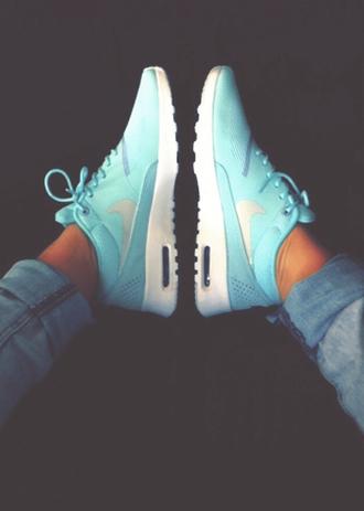 shoes nike nike air max thea air max blue street style