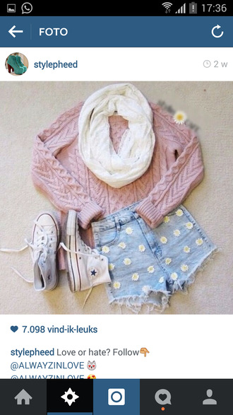 pink sweater all star flowers daisy shorts daisy sweater