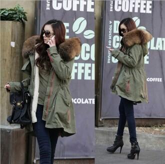 jacket parka fur fashion military lookbook khaki