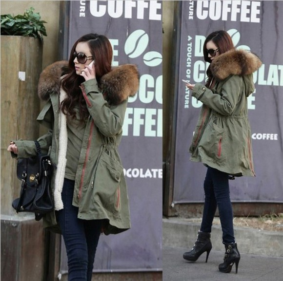 fashion jacket parka fur army lookbook green, military, khaki, fur, cargo, jacket, coat, outwear, sweater, army, perfect, love, cute,