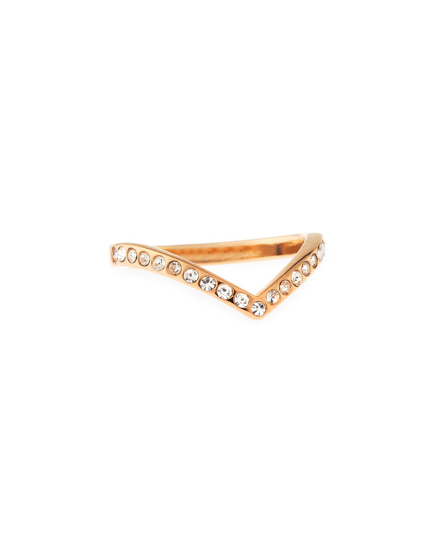 Ultra Mini V Crystal Midi Ring, Rose Golden