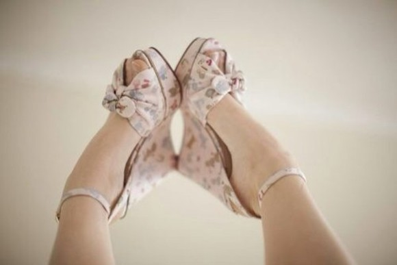 shoes peep toe high heels cute floral