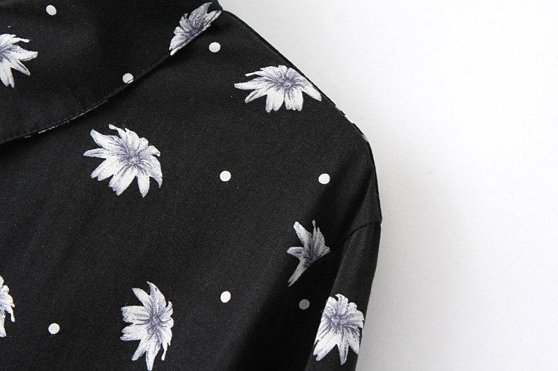 Daisy Print Black Lapel Long Sleeves Chiffon Blouse