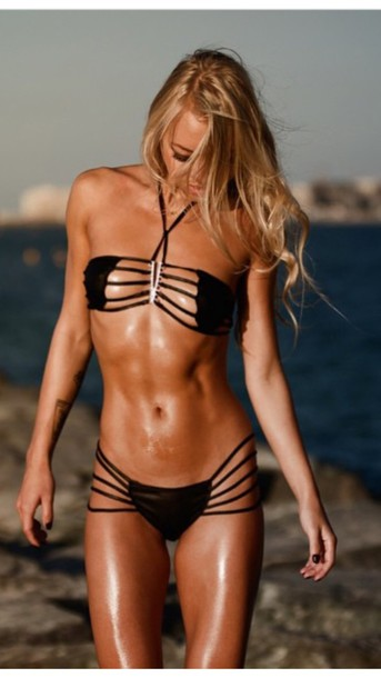 swimwear sexy black bikini bandeau bandeau swimsuit caged swimsuit