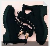 shoes,black,boots,combat boots,gold,black boots,little black boots,gold shoes,black combat boots,black heels