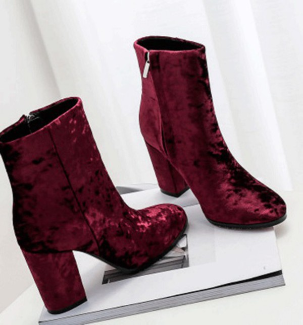 shoes ankle boots chunky boots boots velvet