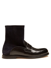 sock boots,leather,navy,black,shoes