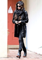 jacket,black,selena gomez,beautiful,clothes,jeans,scarf,shoes