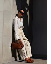 pants,wide-leg pants,shirt,top,white shirt,sunglasses,shoes,bag