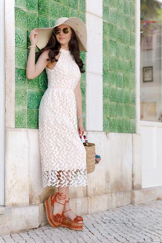 dress hat tumblr lace dress feminine midi dress white dress halter neck halter neck dress sandals wedges wedge sandals sun hat sunglasses shoes