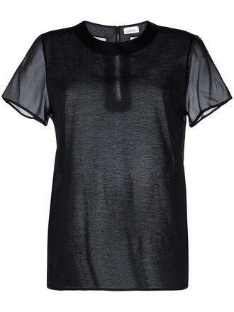 t-shirt shirt women cotton black silk top