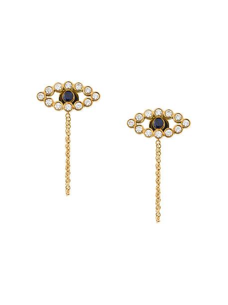Ileana Makri women earrings stud earrings gold yellow grey metallic jewels