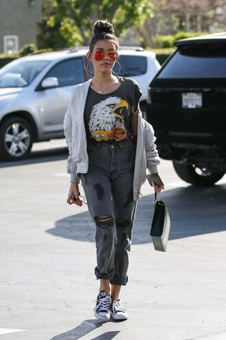 jeans jacket madison beer sneakers sunglasses top streetstyle spring outfits ripped jeans