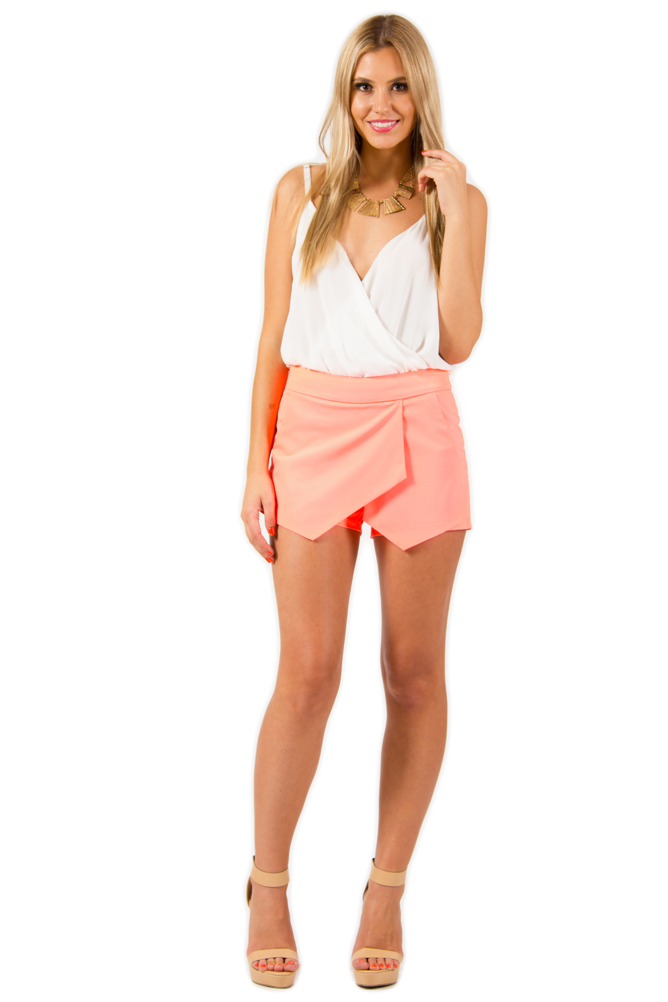Coral Shorts - Midnight Passion Skort in Neon | UsTrendy