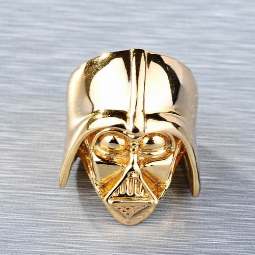 6pcs wholesale amazing 18k gold plated star wars darth vader face head mask helmet ring size 7 8 skull ring jewelry