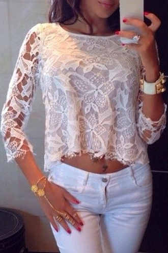 top lace lace top crop tops boho boho chic white lace lace shirt style back to school casual outfit streetwear preppy blogger instagram