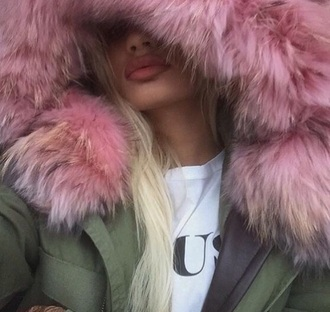 coat army green jacket beautiful coat girly beautiful winter coat fur coat fall coat fuzzy coat trench coat grey coat pink coat faux fur coat girls coat fur hood