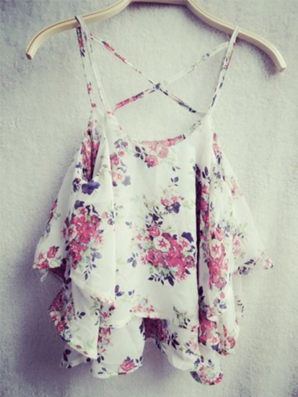 shirt crop tops top blouse flowers white