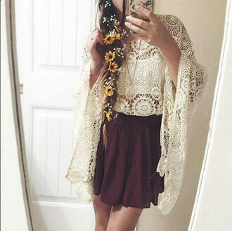 cardigan boho hippie festival knitted knit lace coat skirt