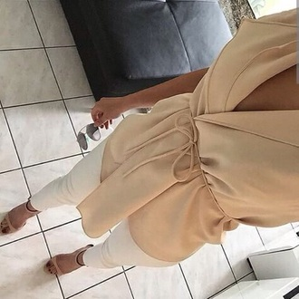 blouse beige chiffon rope modern cream long