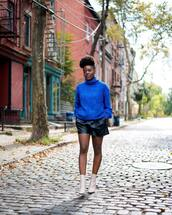 sweater,tumblr,royal blue,turtleneck,turtleneck sweater,knit,knitted sweater,blue sweater,shorts,leather shorts,boots,ankle boots,white boots