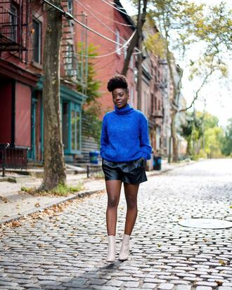 sweater tumblr royal blue turtleneck turtleneck sweater knit knitted sweater blue sweater shorts leather shorts boots ankle boots white boots