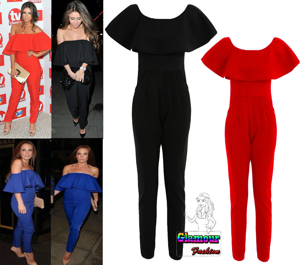 Celebrity Ladies Ruffle Frill Off The Shoulder Playsuit Womens Jumpsuit Dress | eBay