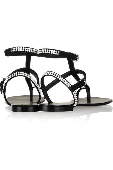 Giuseppe Zanotti|Nuvorock embellished suede sandals |NET-A-PORTER.COM