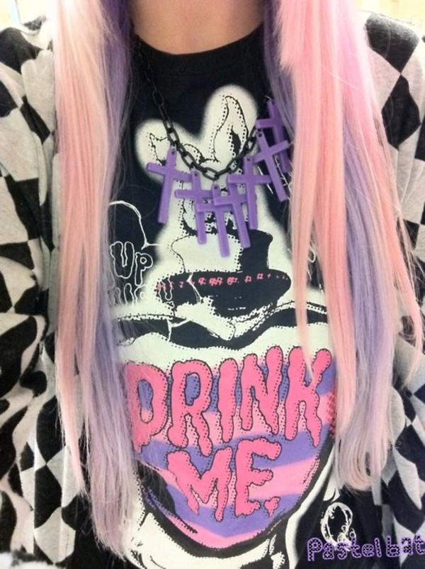 jewels t-shirt shirt cute pastel goth alice in wonderland black sweater